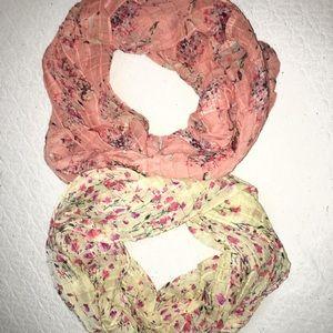 Floral infinity scarves